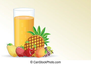 illustration of fresh fruit with glass full of juice