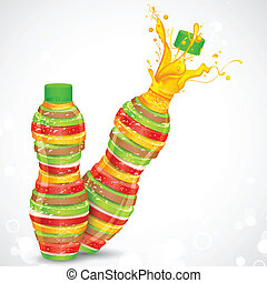 Fruit Juice - illustration of juice bottle made of fresh...