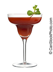 fruit juice in martini glass