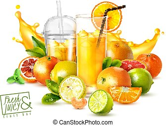 Fruit Juice Realistic Poster - Realistic poster with citrus ...