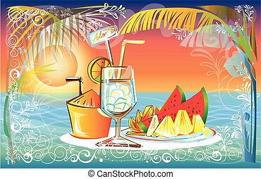 Fruit juice set in Sunset at the Sea beach landscape of nature design