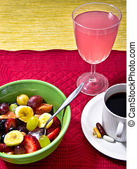 Fruit , Juice, Vitamins and a Cup of Coffee
