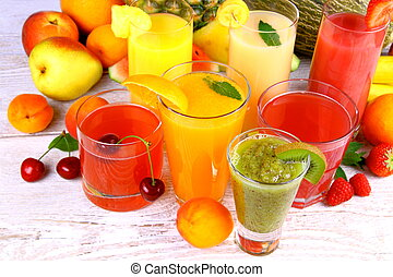 Fruit juice with kiwi, apricot, cherry, pineapple and tangerine