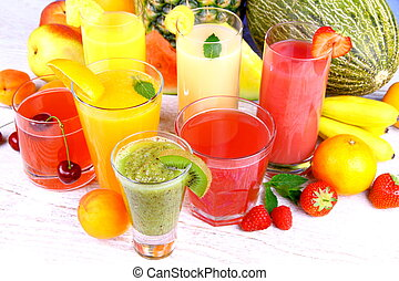 Fruit juice with kiwi, apricot, cherry, watermelon, tangerine, pear
