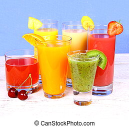 Fruit juices from kiwi, cherry, orange, strawberry, banana, pineapple