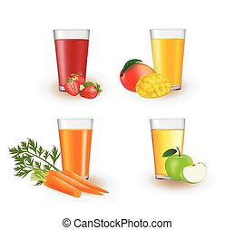 Fruit juices in a glass
