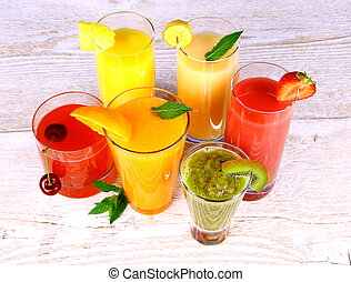 Fruit juices, kiwi, cherry, orange, strawberry, banana, pineapple