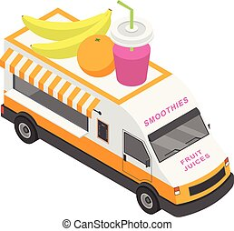 Fruit juices truck icon, isometric style