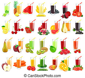 vegetable and fruit juice in glass on white background