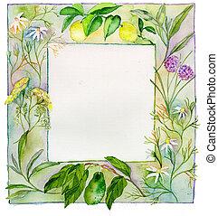 fruit, kruid, en, bloem, frame