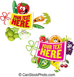 fruit, légume, étiquette, sain