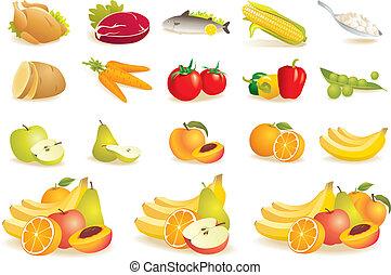 fruit, légumes, viande, maïs, icônes