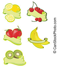 Fruit Lables - vector illustration of different fruit lables