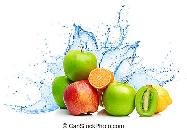 fruit, malen, vermalen, in, water, gespetter
