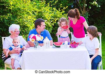 fruit, manger, jardin, famille