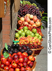 Fruit for sale at a market on the streets of Siena, Tuscany, Italy
