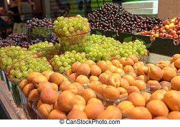 Fresh fruits in Mahane Yehuda market Jerusalem, Israel