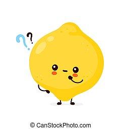 fruit, marque, citron, mignon, rigolote, question, heureux