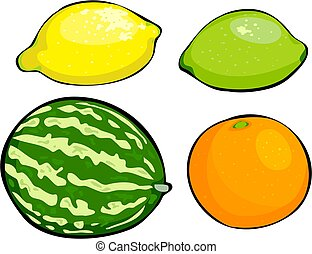 Fruit - melon, lemon, lime, orange