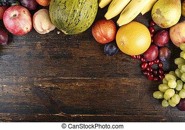 fruit mix background - fruit background with exotic fruits...