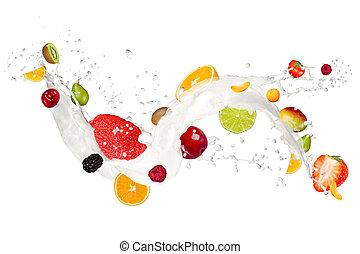Fruit mix in milk splash