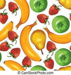 Seamless pattern of ripe bananas, pears, strawberries and green apples on white background