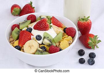 Fruit muesli with yogurt for breakfast