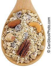 Fruit, Nut, and Fiber Muesli - A spoon of Fruit, Nut, and...