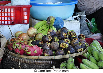 Fruit on market - Fruits for sale on the market at Cham...