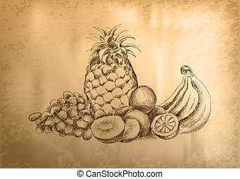 fruit on the old paper