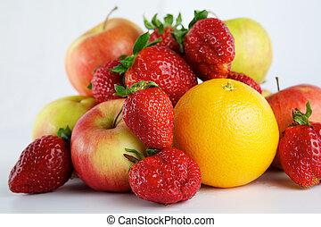 Fruit on white background