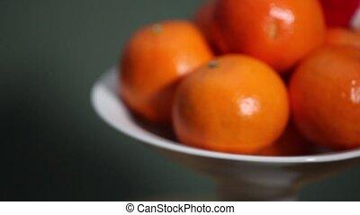 fruit orange in Santa hat