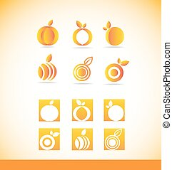 Fruit orange logo icon set