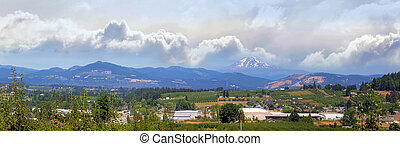 Fruit Orchards in Hood River Oregon Panorama