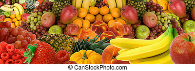 Fruit Panorama - This is a display of various fruits.