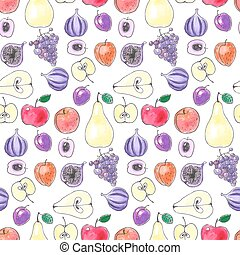 Fruit pattern - Seamless pattern with various hand drawn...