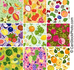 Fruit pattern seamless vector fruity backdrop and fruitful...
