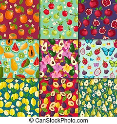 Fruit pattern seamless vector fruity background and fruitful exotic wallpaper with fresh slices of watermelon lemon apples and tropical fruits illustration set