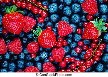 Fruit Pattern with Berries assorted mix. Top view. Strawberry, Raspberry, Red currant, Blueberry and Blackberry Background