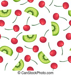 Fruit pattern with kiwi and cherries