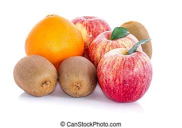 fruit pear, apple, kiwi, orange