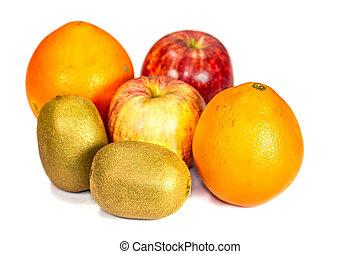 apple, kiwi, orange