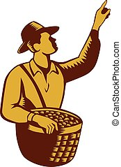Fruit Picker Worker Pointing Woodcut