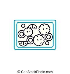 Fruit pie linear icon concept. Fruit pie line vector sign, symbol, illustration.
