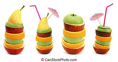 fruit, piles, tranches