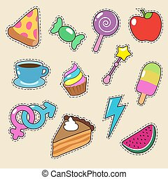 Fruit, pizza, coffee and candy stickers vector icons. Girl fashion patches collection