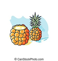 fruit, plage, cocktail, ananas