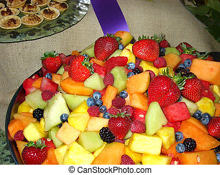 Fruit Plate and purple ribbon.