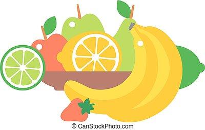 Fruit plate vector illustration.
