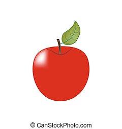 fruit, pomme, icône